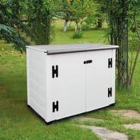 Baule da giardino GAROFALO BOX EVO FLAT 100 in pvc struttura doghe e coperchio bianco/avorio 122.5 x 82.5 cm
