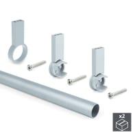 Tubo appendiabiti 400 mm grigio / argento