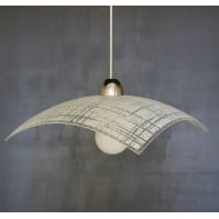 Lampadario Design Line bianco in vetro, 3 luci
