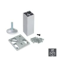 Set 4 piedini EMUCA alluminio grigio anodizzato  H 13 cm 4 pezzi
