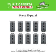 Kit Presa BTICINO Living light 16 A nero, 10 pezzi