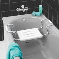 Sedile per vasca secura in alluminio cromato bianco Wenko