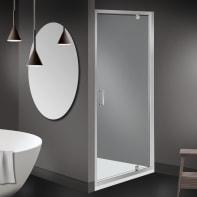 Box doccia angolare con porta a battente e lato fisso quadrato Zesc 80 x 80 cm, H 190 cm in vetro temprato, spessore 6 mm trasparente cromato