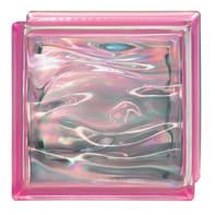 Vetromattone BORMIOLI Agua Perla rosa ondulato H 19 x L 19 x Sp 8 cm