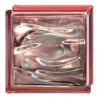 Vetromattone BORMIOLI rosso ondulato H 19 x L 19 x Sp 8 cm