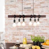 Lampadario Industriale Medbourne marrone e nero in acciaio, D. 0 cm, L. 110 cm, 6 luci, EGLO