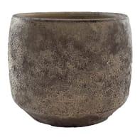 Vaso in ceramica colore marrone H 23 cm, Ø 25 cm