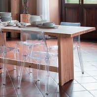 Tavolo rettangolare Fratino con piano in legno L 80 x P 200 cm