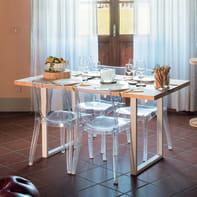 Tavolo da giardino rettangolare Synergo con piano in legno L 80 x P 160 cm