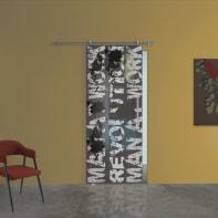 Porta scorrevole con binario esterno Carpet 2 in vetro Kit Ermes L 88 x H 215 cm sx