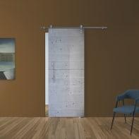 Porta scorrevole con binario esterno Cemento in vetro Kit Ermes L 88 x H 215 cm dx