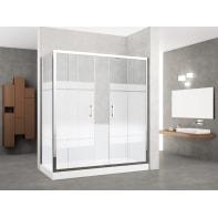 Box doccia rettangolare scorrevole 160 x 70 cm, H 190 cm in vetro temprato, spessore 6 mm serigrafato cromato