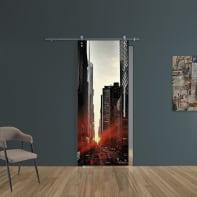 Porta scorrevole con binario esterno Urban in vetro Kit Ermes L 88 x H 215 cm sx