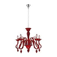 Lampadario rosso in acrilico , D. 55 cm, 5 luci