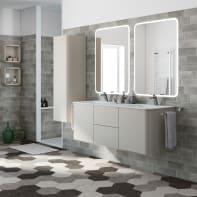 Mobile bagno Liverpool grigio lucido L 140 cm