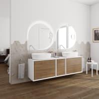 Mobile bagno Bellagio bianco e rovere L 176 cm