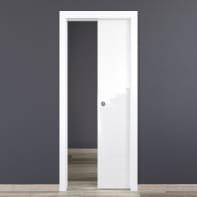 Porta scorrevole a scomparsa Bright bianco L 80 x H 210 cm reversibile