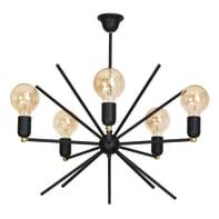 Lampadario Glamour Gemini nero in metallo, D. 58 cm, 5 luci