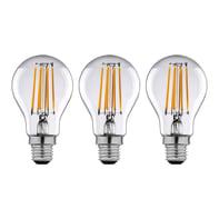 Lampadina LED filamento E27, Goccia, Trasparente, Bianco caldo, 12W=1521LM (equiv 100 W), 360° , LEXMAN , set di 3 pezzi