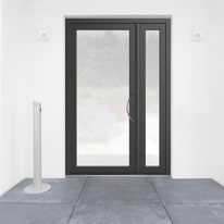 portoncino d'ingresso alluminio Condo7 grigio L 132 x H 210 sx