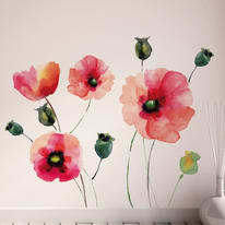Wall Stickers XXL Watercolor poppies