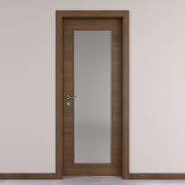 Porta da interno battente Stenophylla vetro cacao 60 x H 210 cm reversibile