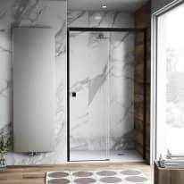 Porta doccia scorrevole Neo Plus 157-159, H 200 cm vetro temperato 6 mm trasparente/nero