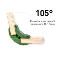 4 connettori Playwood 105° per pannelli in legno in plastica hi-tech verde
