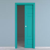 Porta da interno scorrevole Coconut Groove azzurro 60 x H 210 cm reversibile