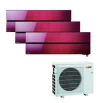 Climatizzatore fisso inverter trialsplit Mitsubishi LN 9000 + 9000 + 12000 BTU classe A+++ rosso