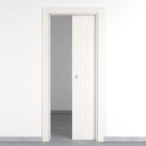 Porta da interno scorrevole Wood bianco 80 x H 210 cm reversibile