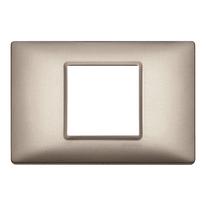 Placca 2 moduli Vimar Plana nichel perlato