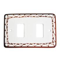 Placca 2 moduli Eurokeramic Ceramica bianco, marrone