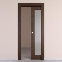 Porta da interno scorrevole Timber vetro Fumo 80 x H 210 cm reversibile
