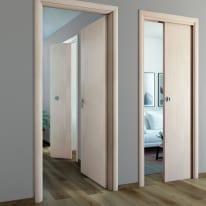 Porta da interno battente Notting Hill pino sbiancato 80 x H 210 cm reversibile