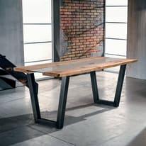Tavolo Vertigo legno e vetro L 160 x P 85 x H 80 cm grezzo