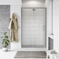 Porta doccia scorrevole Quad 137.5-140,5, H 190 cm cristallo 6 mm trasparente/silver
