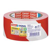 Nastro segnaletico Signal Tesa bianco e rosso 66 m x 50 mm