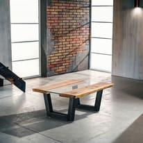 Tavolino Vertigo legno e vetro L 100 x P 85 x H 40 cm grezzo