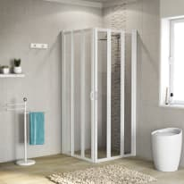 Box doccia Los 76-80 x 76-80, H 185 cm cristallo 3 mm trasparente/bianco lucido