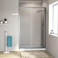 Porta doccia scorrevole Dado 138-140, H 185 cm cristallo 5 mm trasparente/silver
