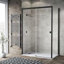 Doccia con porta scorrevole e lato fisso Neo 152 - 156 x 77 - 79 cm, H 200 cm vetro temperato 6 mm trasparente/nero