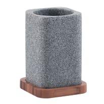 Porta spazzolini Nora grigio/legno chiaro