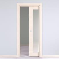 Porta da interno scorrevole Lucad Vetro Graf Matrix 80 x H 210 cm reversibile
