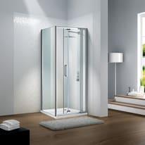 Porta doccia battente Slimline 90-100, H 195 cm cristallo 6 mm trasparente/silver