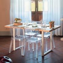 Tavolo Synergo legno e vetro L 160 x P 80 x H 75 cm grezzo