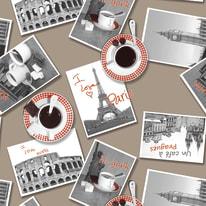 Tovaglia plastificata Postcards marrone 220 x 140 cm