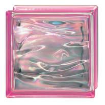 Vetromattone Agua Perla rosa ondulato effetto acqua perlato 19 x 19 x 8 cm