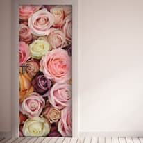 Sticker Door Cover Colorful roses