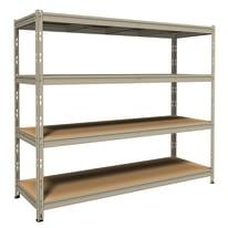 Scaffale metallo zincato 4 ripiani in legno L 180 x P 60 x H 180 cm